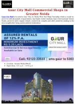 Gaur City Mall Commercial Shops in Greater Noida