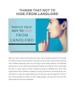 THINGS THAT NOT TO HIDE FROM LANDLORD