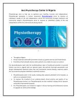 Best Physiotherapy Centers in Nigeria