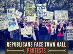 Republicans face town hall protests