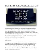 Black Hat SEO Method That You Should Avoid
