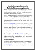 Tantric Massage India Use For Unlimited And Amazing Benefits