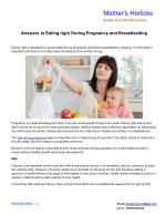 Answers to Eating right During Pregnancy and Breastfeeding