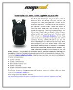 Motorcycle Back Pack – Finest Upgrade for your Bike