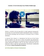 Xamarin: A Tool to Develop Cross-Platform Mobile Apps