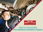 How to choose an auto equipment installation and repair company