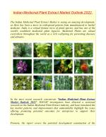 Indian Medicinal Plant Extract Market Outlook 2022