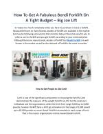 How To Get A Fabulous Bendi Forklift On A Tight Budget – Big Joe Lift