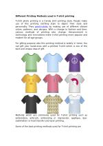 Different Printing Methods used in T-shirt Printing