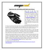 Experience the Safe Riding with Motorcycle Gloves