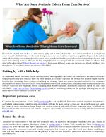 What Are Some Available Elderly Home Care Services?