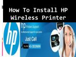 How To Install Hp Wireless Printer