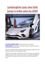 Lamborghini eyes two-fold jump in India sales by 2020