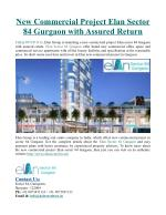 New Commercial Project Elan Sector 84 Gurgaon with Assured Return