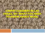 Carpet Cleaners In Las Vegas, NV: What You Need To Know About Wool