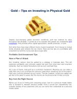 Gold – Tips on Investing in Physical Gold