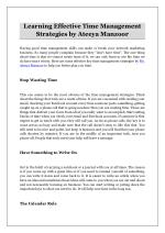 Learning Effective Time Management Strategies by Ateeya Manzoor