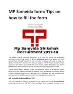 MP SAMVIDA FORM: TIPS FOR HOW TO FILL THE FORM