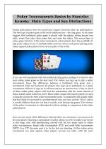 Poker Tournaments Basics by Stanislav Komsky: Main Types and Key Distinctions