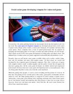 Social casino game developing company for casino and games
