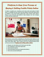 Platform to Ease Your Process of Buying & Selling Textile Prints Online