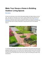Make Your House a Home in Building Outdoor Living Spaces