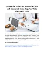 5 Essential Points To Remember For Job Seekers Before Register With Placement Firm