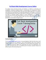 Get Online Training on Full stack Web Development Course