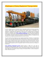 Heavy Equipment Transportation