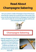 Read About Champagne Sabering and Sabrage