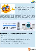 Beat the Summer Blues, With Air Coolers !!