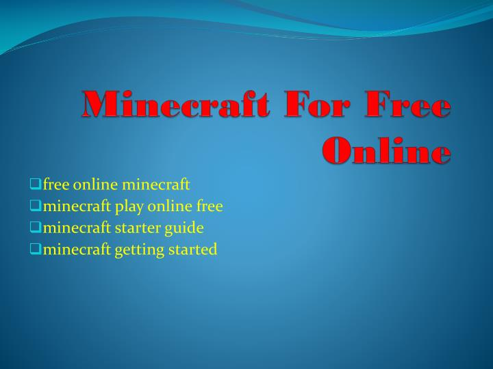 minecraft for free no downloading