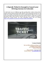 A speedy ticket is enough to cancel your driving license in colorado