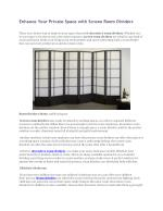 Enhance Your Private Space with Screen Room Dividers