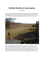 Multiple Benefits of Landscaping