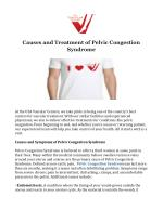 Causes and Treatment of Pelvic Congestion Syndrome
