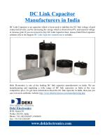 DC Link Capacitor Manufacturer in India