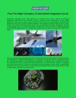 Find The Right Company To Get Hybrid Integrated Circuit