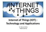 Internet of Things (IOT) - Technology and Applications