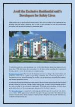 Avail the Exclusive Residential unit's Developers for Safety Lives