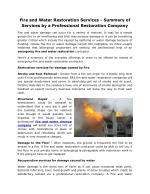 Fire and Water Restoration Services - Summary of Services by a Professional Restoration Company