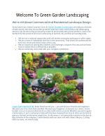 Welcome To Green Garden Landscaping