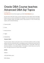 Oracle DBA Course teaches Advanced DBA Sql Topics