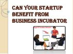 Startup Benefit from Business Incubators