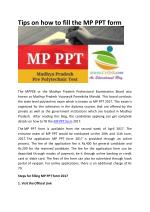 Tips on how to fill the MP PPT form