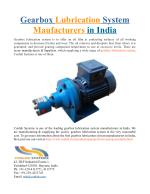 Gearbox Lubrication System Maufacturers in India