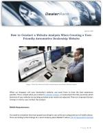 How to Conduct a Website Analysis When Creating a User-Friendly Automotive Dealership Website