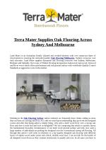 Terra Mater Supplies Oak Flooring Across Sydney And Melbourne