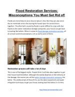 Flood Restoration Services: Misconceptions You Must Get Rid of!