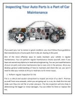 Inspecting Your Auto Parts is a Part of Car Maintenance
